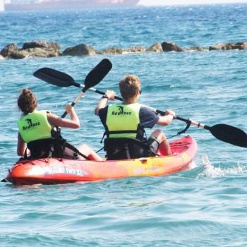 students doing kayak in cyprus