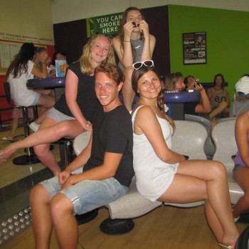 Students playing bowling in cyprus
